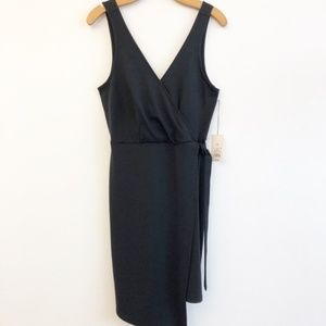 A New Day Black Sleeveless Faux Wrap Dress